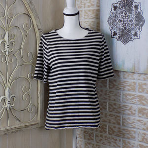 LOFT Pinned Striped stretchy scoop neck top